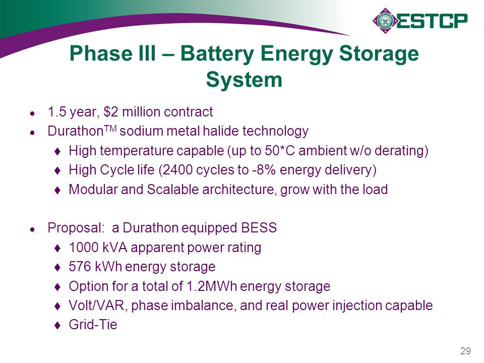 Phase III – Battery Energy Storage System