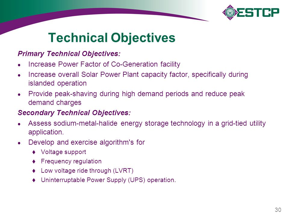 Technical Objectives Primary Technical Objectives: