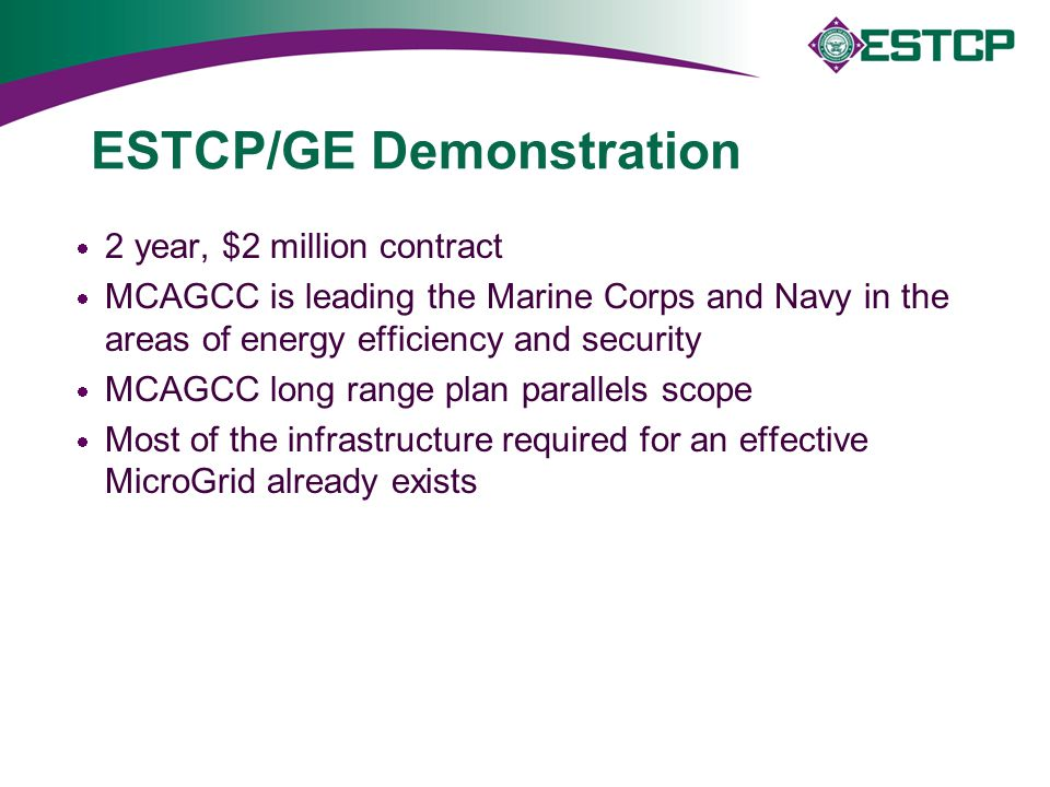 ESTCP/GE Demonstration