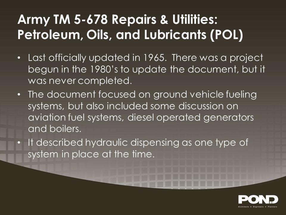 Army TM 5-678 Repairs & Utilities: Petroleum, Oils, and Lubricants (POL)