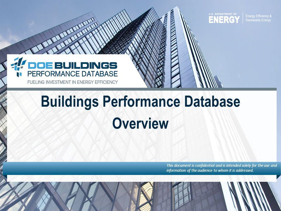 Buildings Performance Database Overview