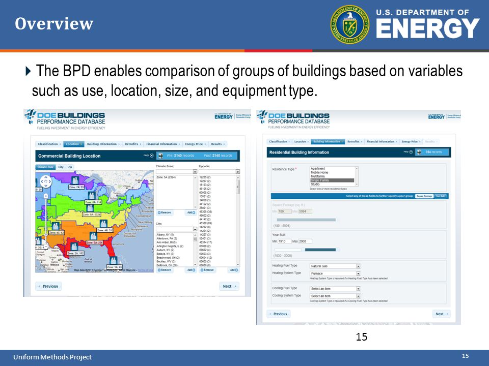 Overview The BPD enables comparison of groups of buildings based on variables such as use, location, size, and equipment type.