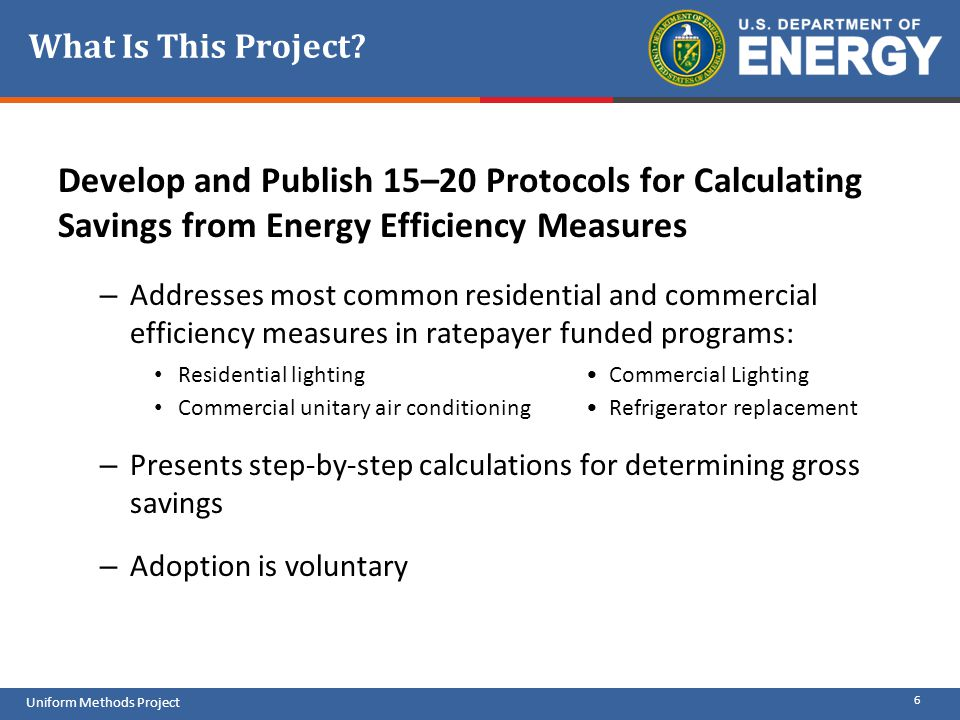 What Is This Project Develop and Publish 15–20 Protocols for Calculating Savings from Energy Efficiency Measures.