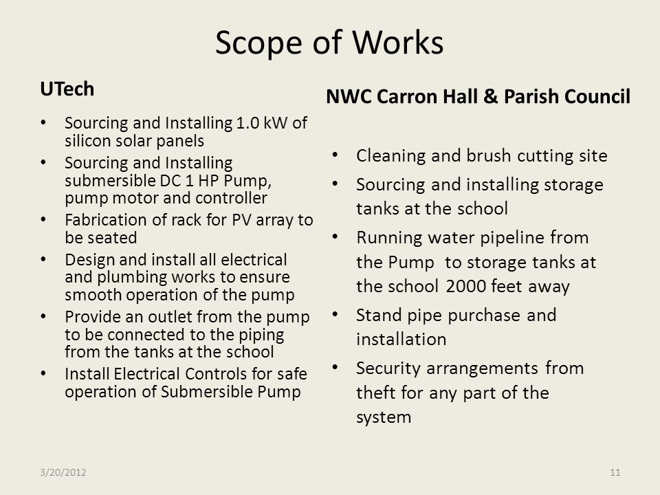 Scope of Works UTech NWC Carron Hall & Parish Council
