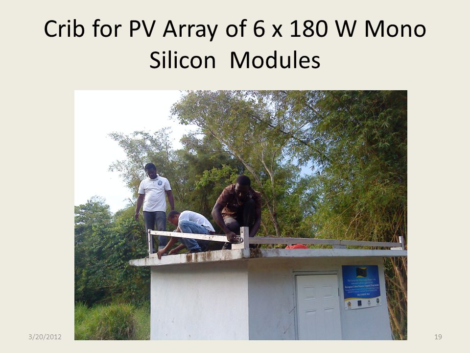 Crib for PV Array of 6 x 180 W Mono Silicon Modules