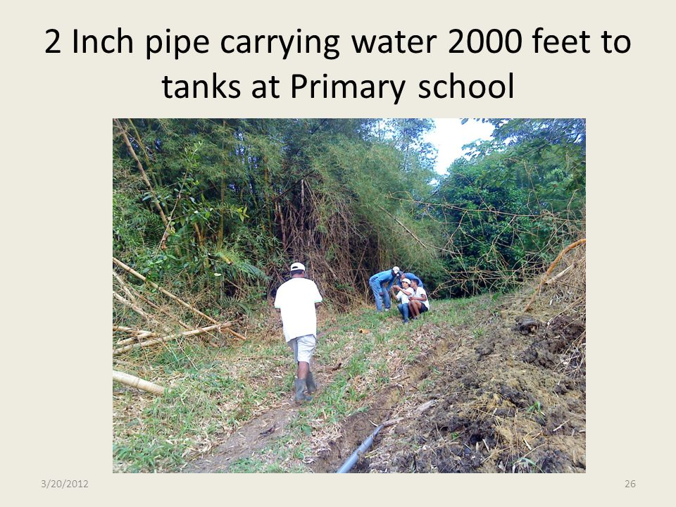 2 Inch pipe carrying water 2000 feet to tanks at Primary school