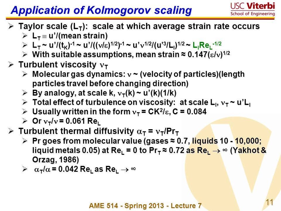 Application of Kolmogorov scaling