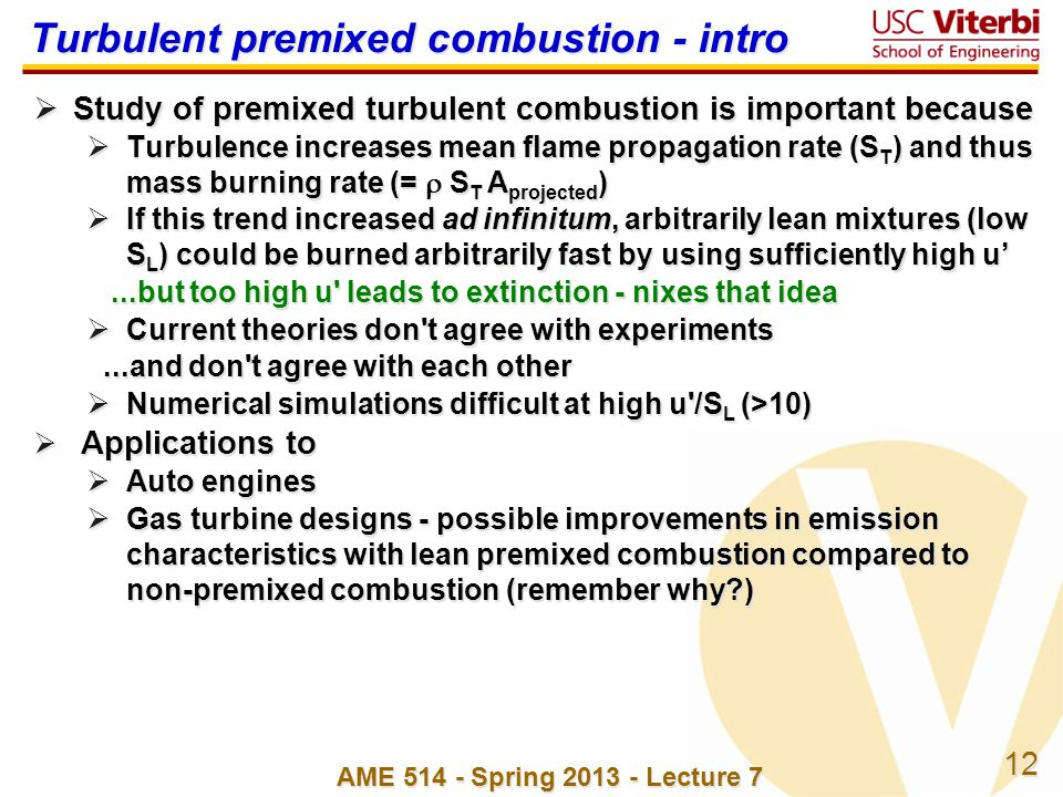 Turbulent premixed combustion - intro
