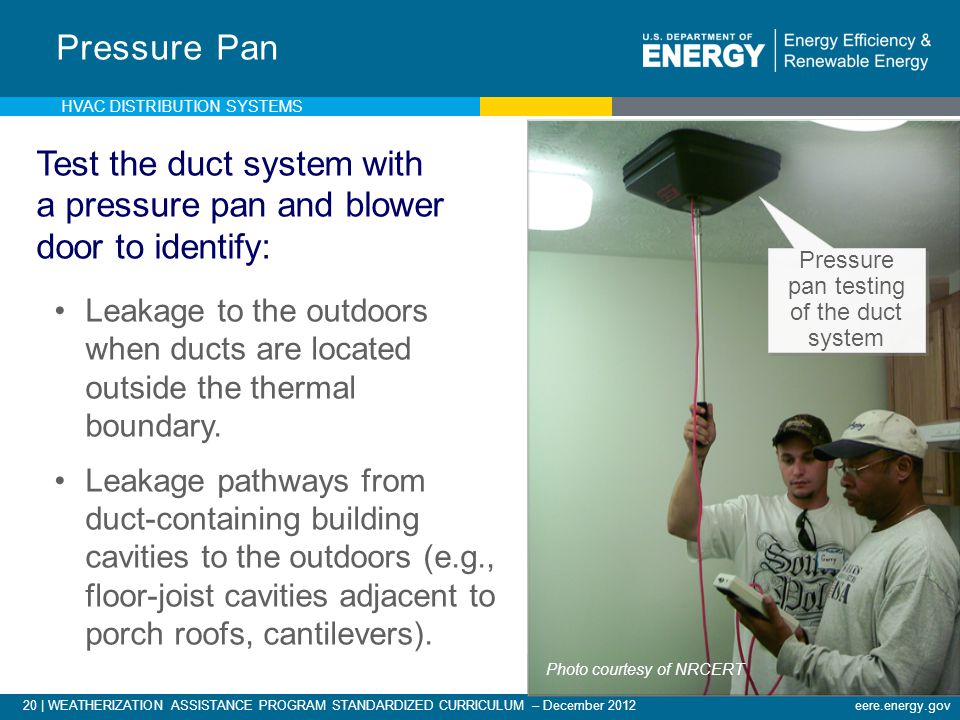 Pressure pan testing of the duct system