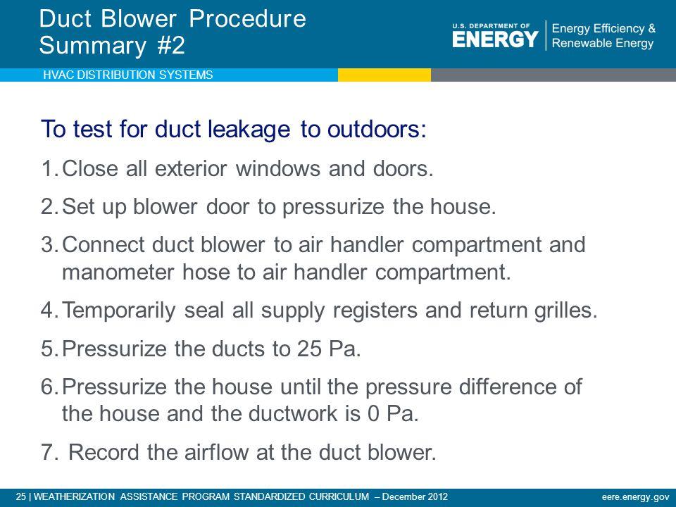 Duct Blower Procedure Summary #2