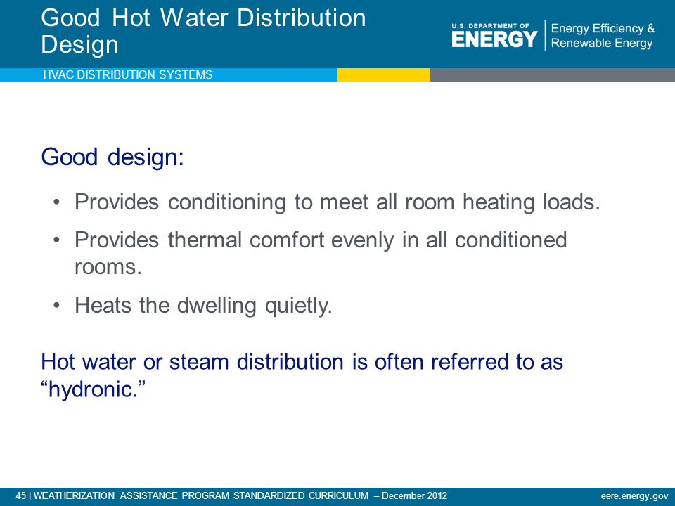 Good Hot Water Distribution Design