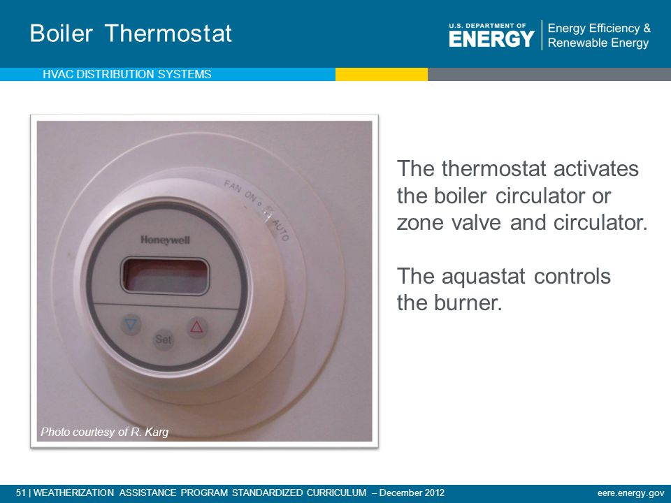Boiler Thermostat The thermostat activates the boiler circulator or