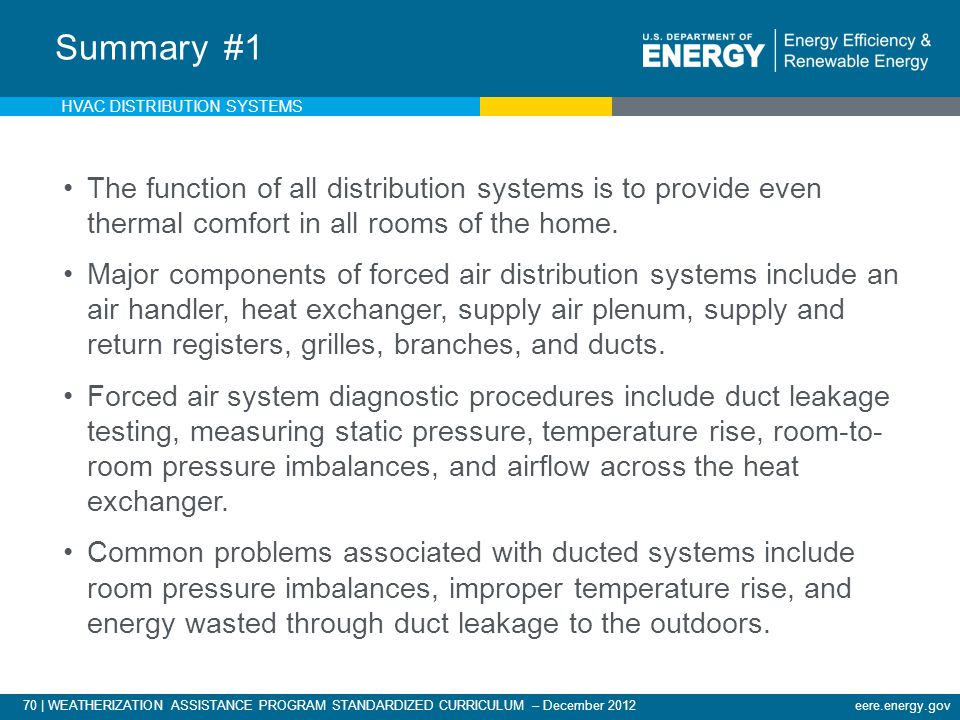 Summary #1 HVAC DISTRIBUTION SYSTEMS. The function of all distribution systems is to provide even thermal comfort in all rooms of the home.