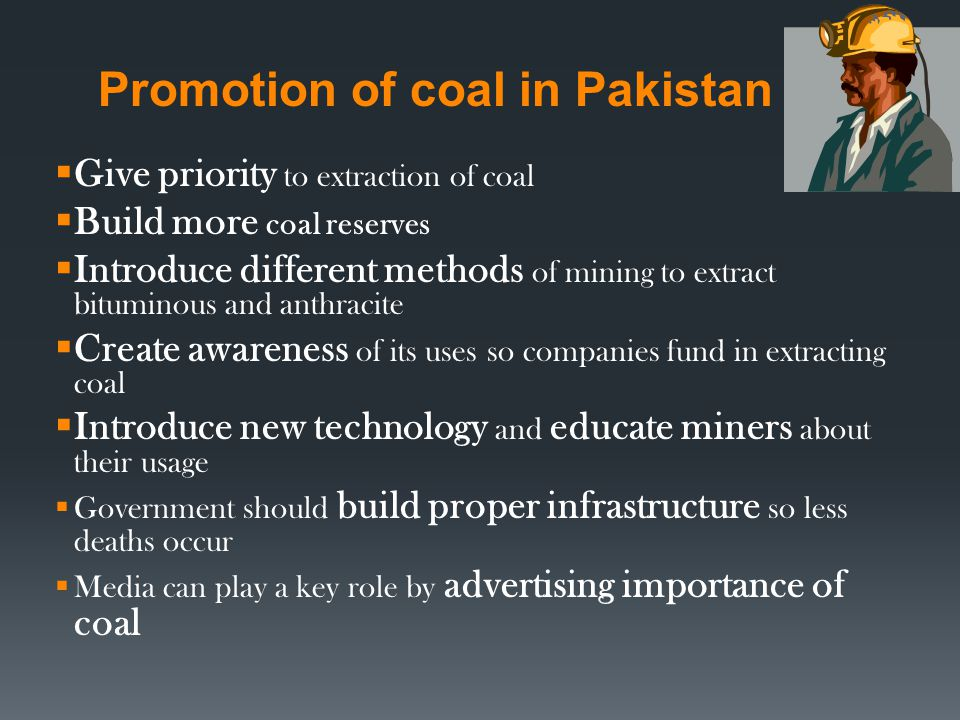 Promotion of coal in Pakistan