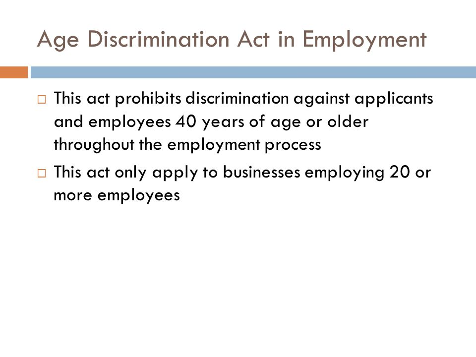 Age Discrimination Act in Employment