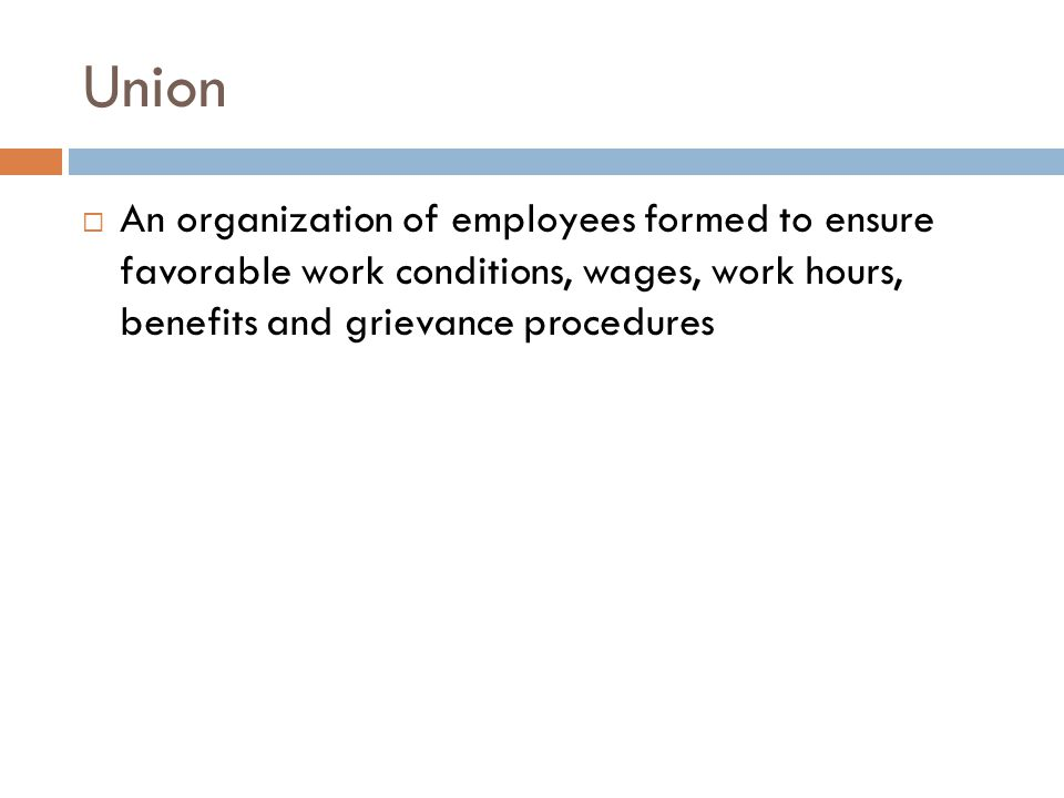Union An organization of employees formed to ensure favorable work conditions, wages, work hours, benefits and grievance procedures.