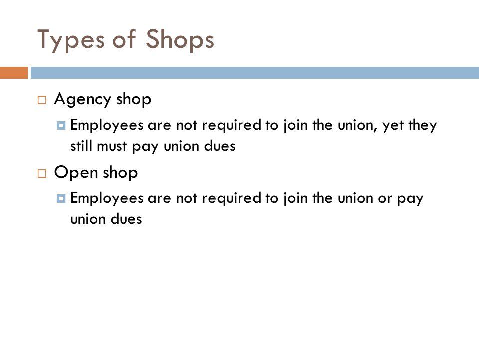 Types of Shops Agency shop Open shop