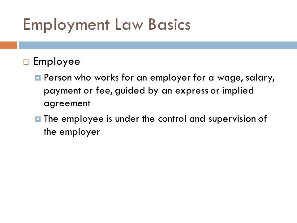 Employment Law Basics Employee