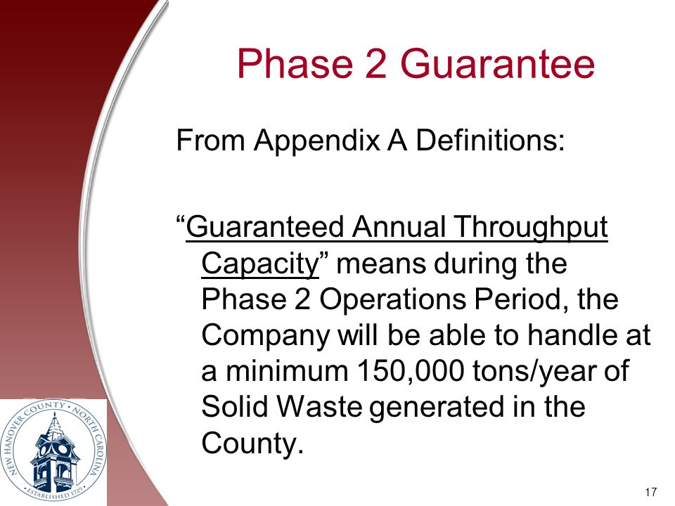 Phase 2 Guarantee From Appendix A Definitions: