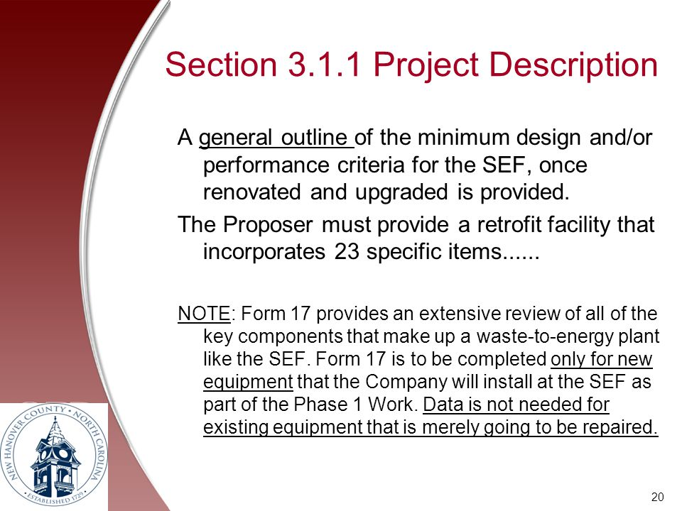 Section 3.1.1 Project Description