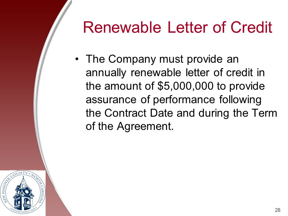 Renewable Letter of Credit