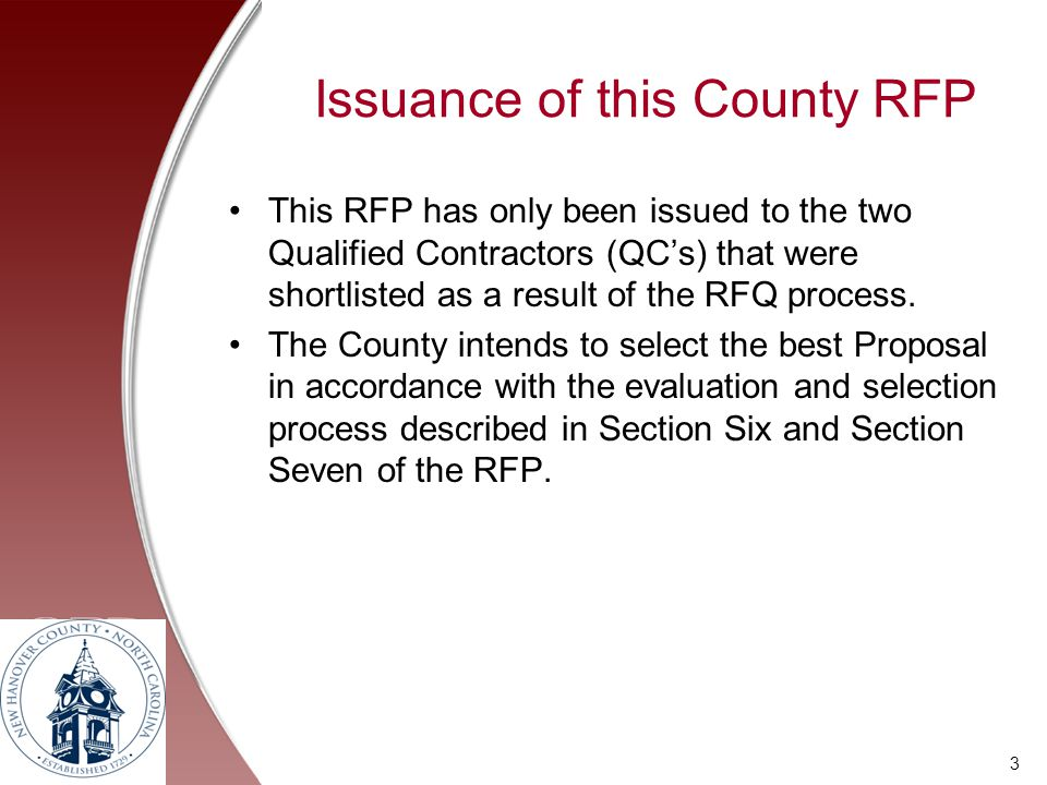Issuance of this County RFP