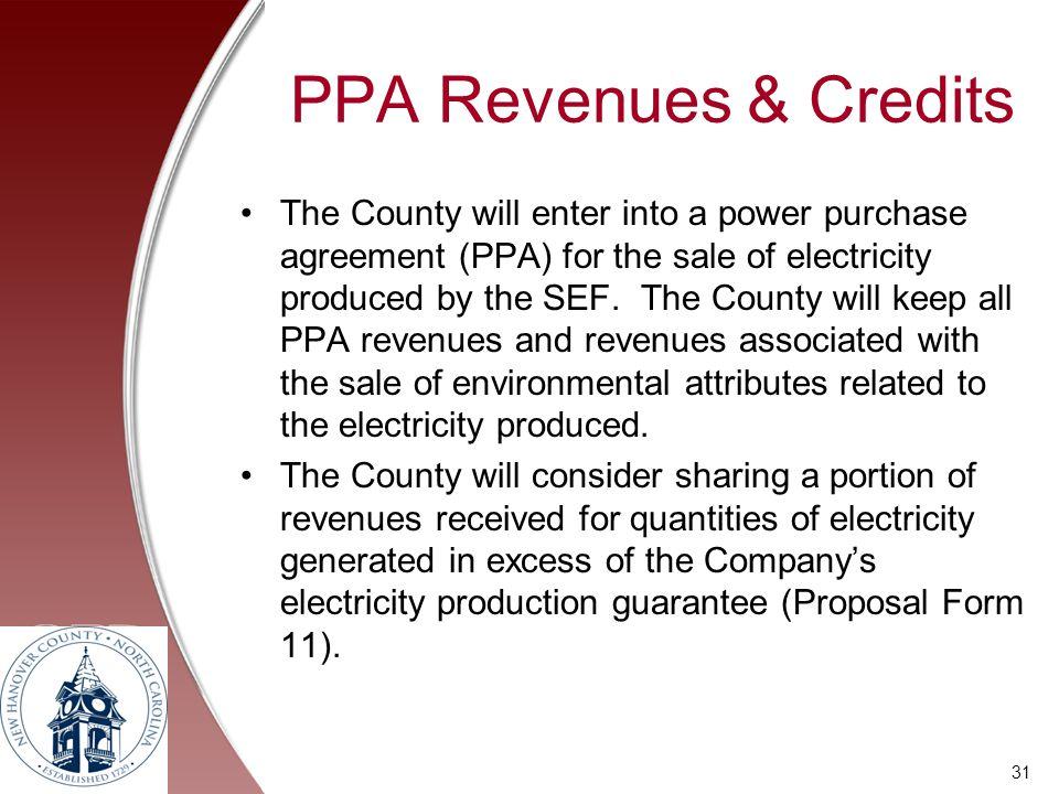 PPA Revenues & Credits