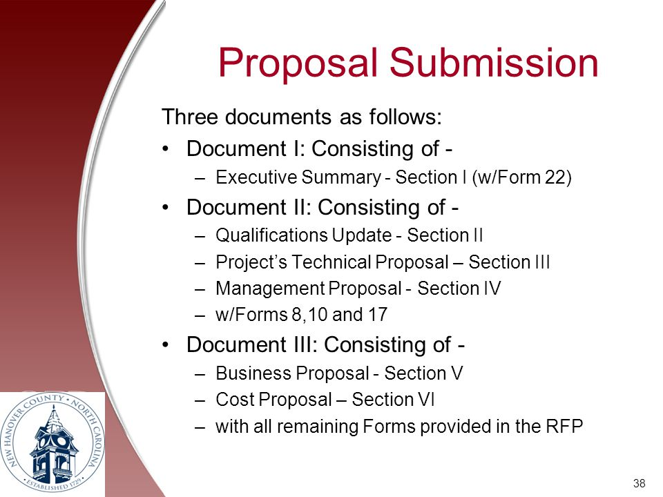 Proposal Submission Three documents as follows: