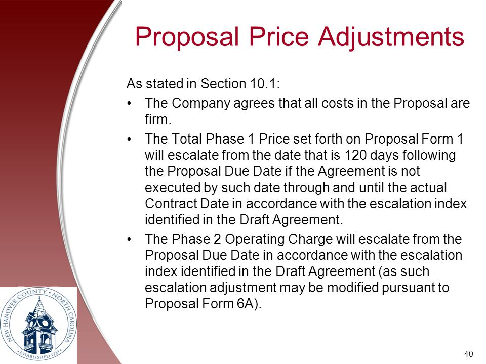 Proposal Price Adjustments