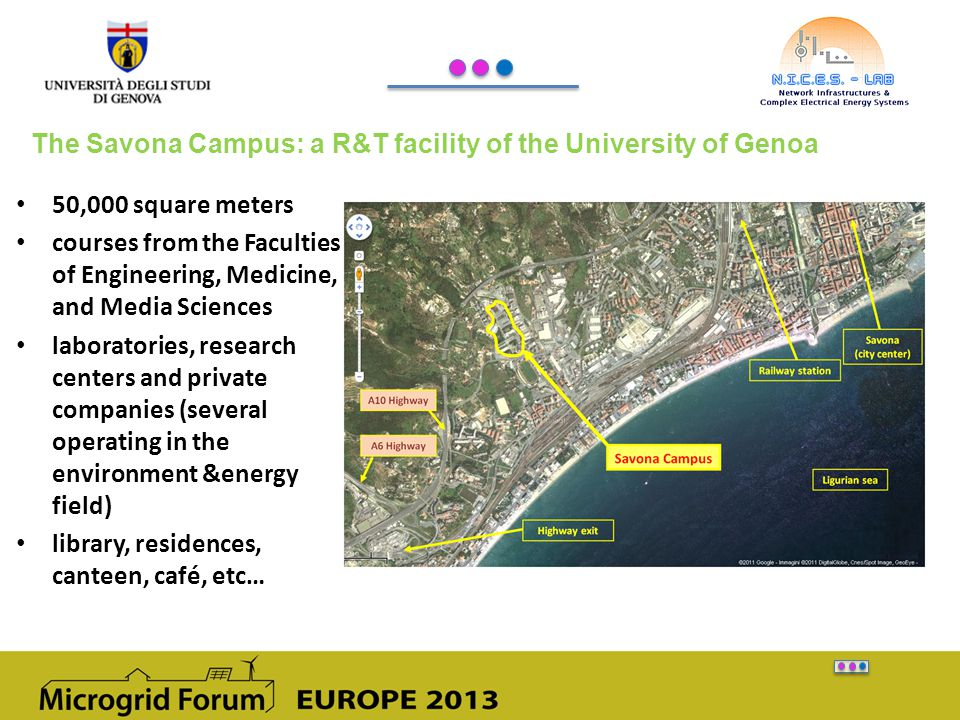 The Savona Campus: a R&T facility of the University of Genoa