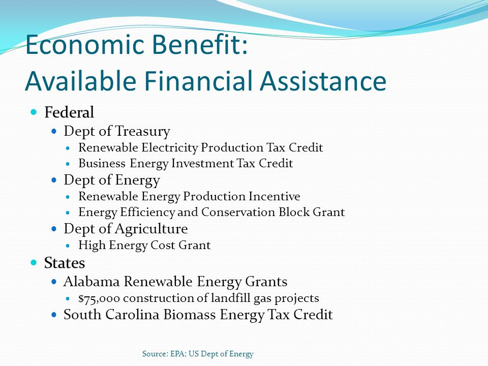 Economic Benefit: Available Financial Assistance