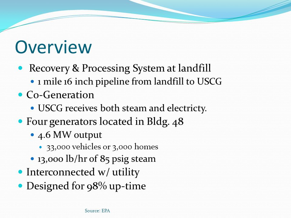 Overview Recovery & Processing System at landfill Co-Generation