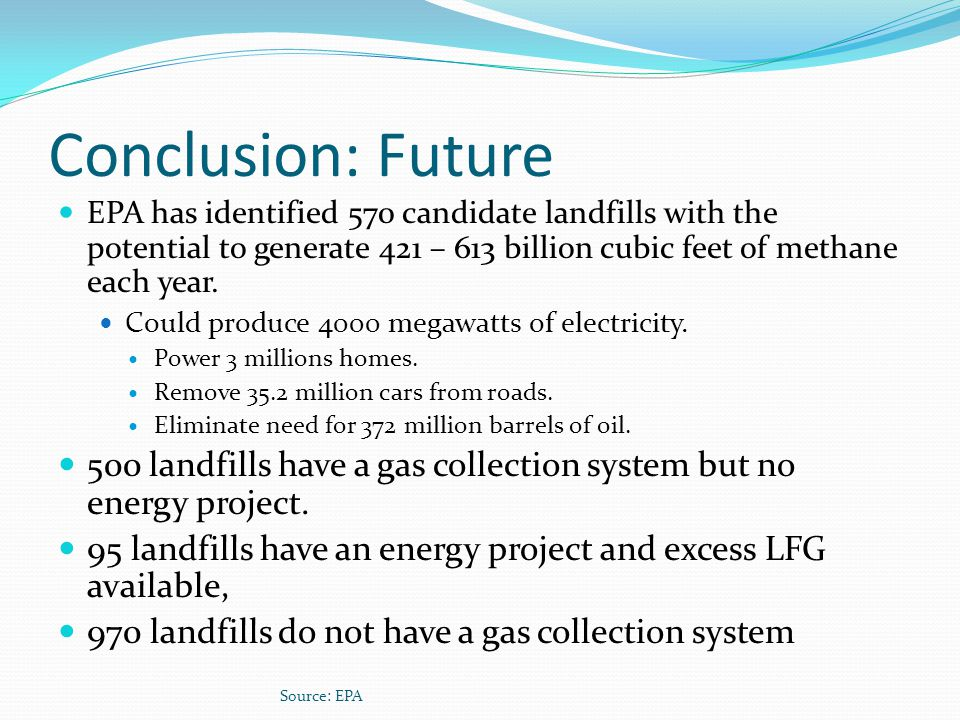 Conclusion: Future EPA has identified 570 candidate landfills with the potential to generate 421 – 613 billion cubic feet of methane each year.