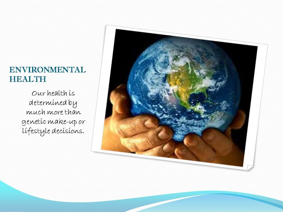 ENVIRONMENTAL HEALTH Our health is determined by much more than genetic make-up or lifestyle decisions.