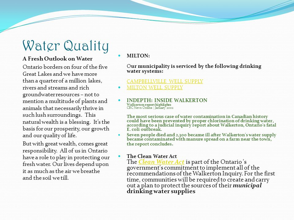 Water Quality A Fresh Outlook on Water