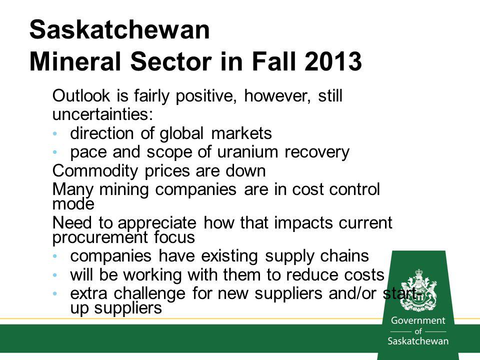 Saskatchewan Mineral Sector in Fall 2013