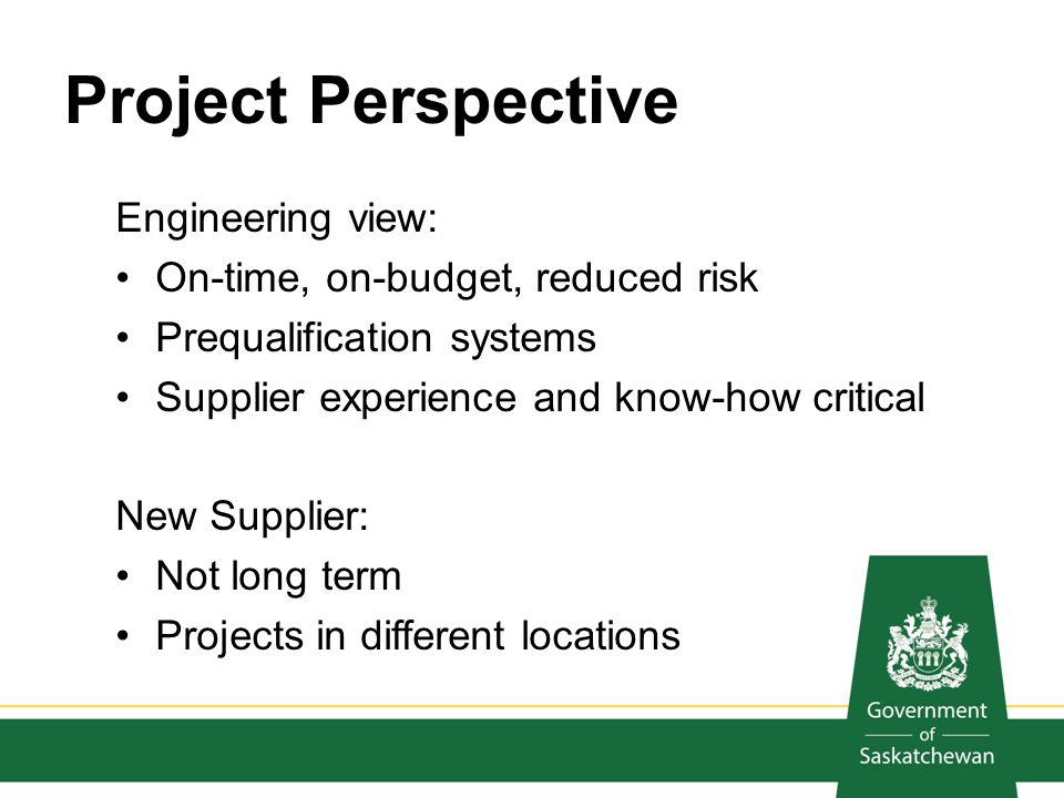 Project Perspective Engineering view: On-time, on-budget, reduced risk