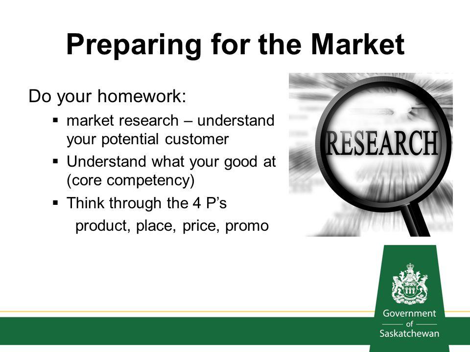 Preparing for the Market