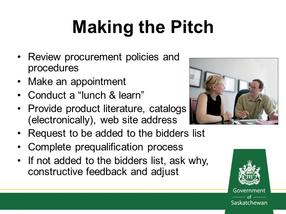Making the Pitch Review procurement policies and procedures