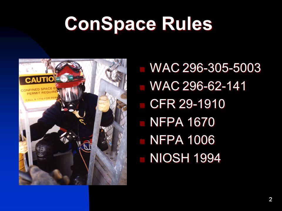 ConSpace Rules WAC 296-305-5003 WAC 296-62-141 CFR 29-1910 NFPA 1670