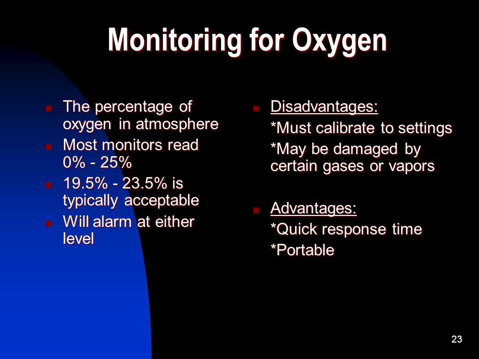 Monitoring for Oxygen The percentage of oxygen in atmosphere