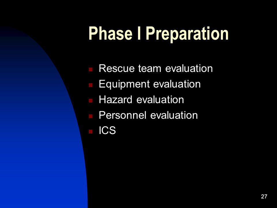 Phase I Preparation Rescue team evaluation Equipment evaluation