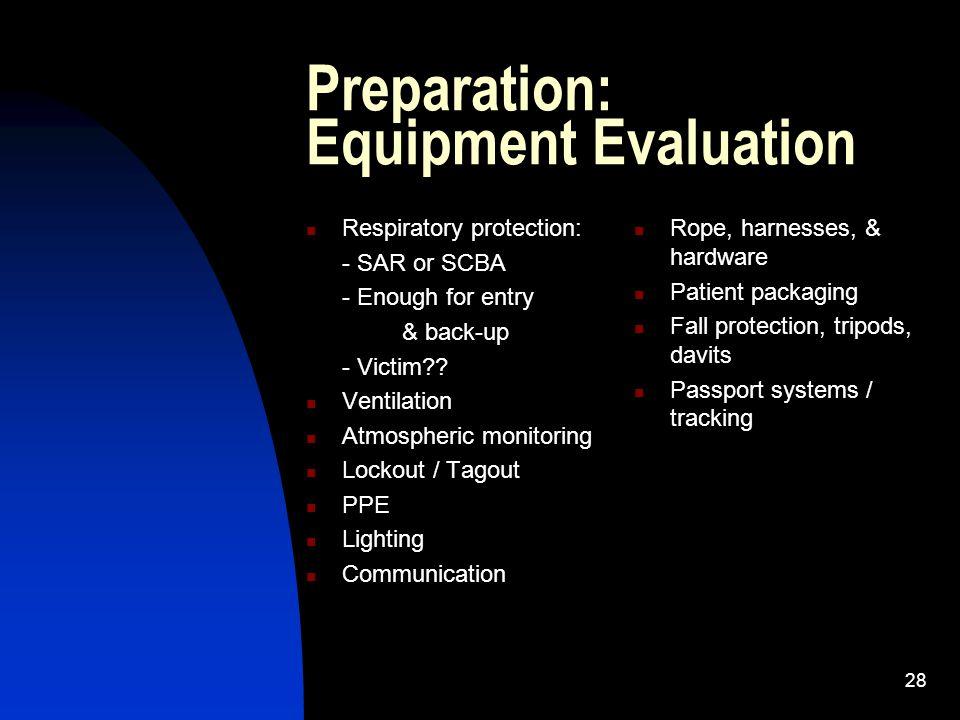 Preparation: Equipment Evaluation