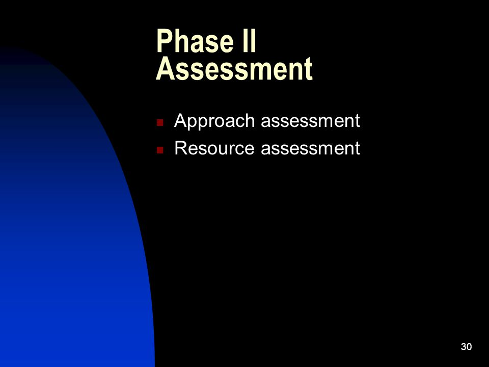Phase II Assessment Approach assessment Resource assessment