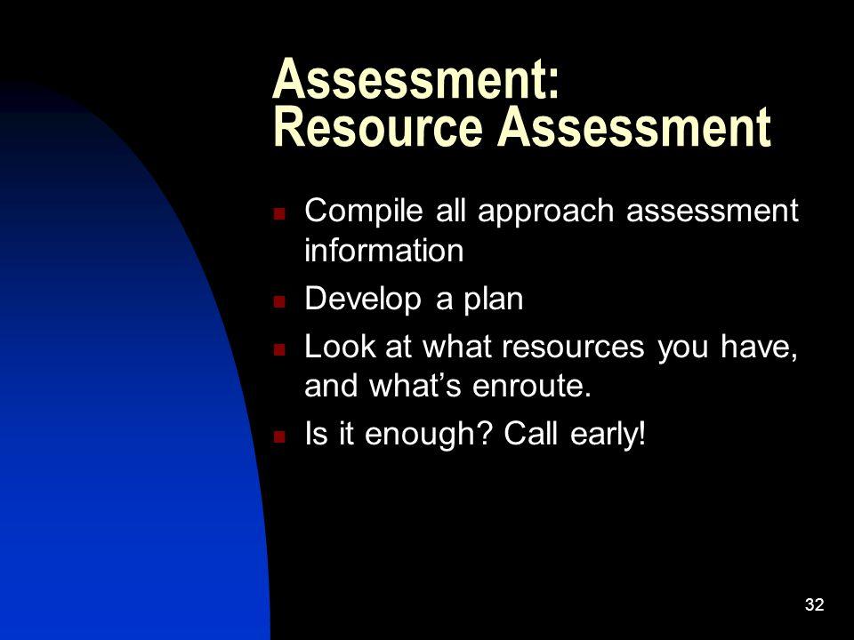Assessment: Resource Assessment