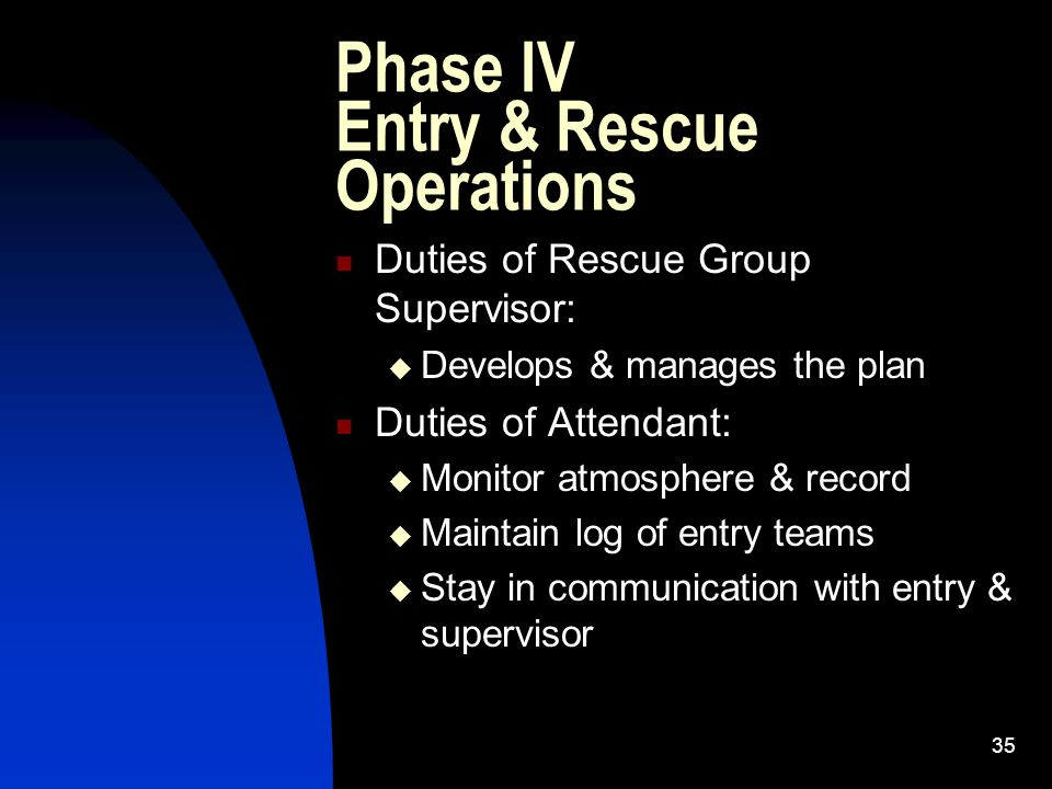 Phase IV Entry & Rescue Operations