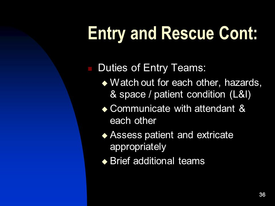 Entry and Rescue Cont: Duties of Entry Teams: