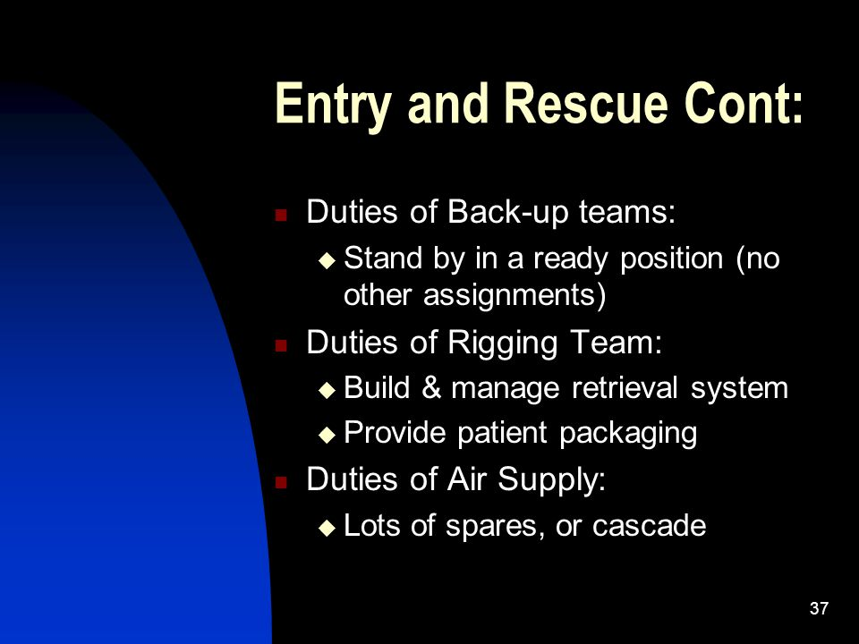 Entry and Rescue Cont: Duties of Back-up teams: