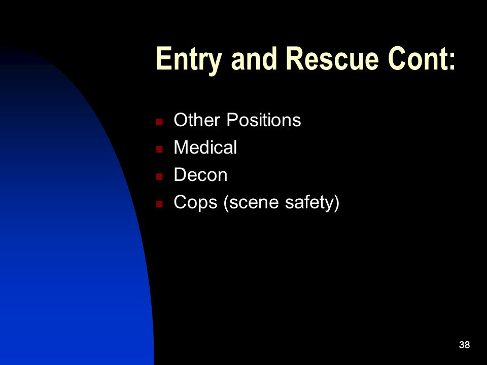 Entry and Rescue Cont: Other Positions Medical Decon