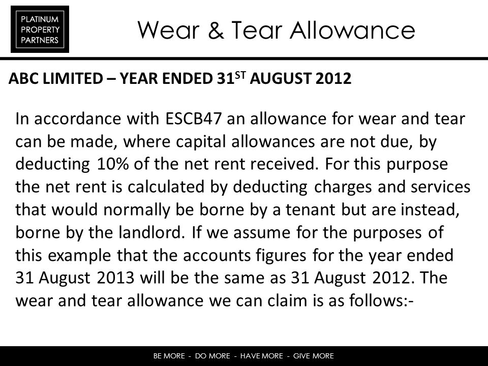 Wear & Tear Allowance ABC LIMITED – YEAR ENDED 31ST AUGUST 2012.